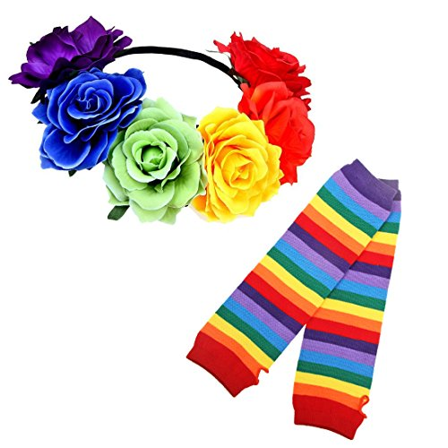 Stripe High Socks - Womens Knee High Socks Fingerless Gloves Accessories Set Colorful Rainbow Arm Warmers Halloween (Rainbow Set-Flower + Glove) ()