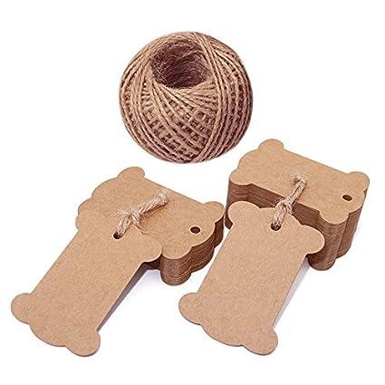 25479eea9e3a jijAcraft 100 PCS Brown Bone Shape Kraft Paper Gift Tags, Kraft Hang  Luggage Tags Wedding Favor Tags with 100 Feet Jute Twine