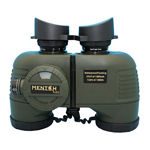 Mentch 7x50 HD Waterproof Military Marine Binoculars w/Internal Rangefinder & Compass for Water Sports,Hunting,Bird Watching,Boating and More(Army Green) …