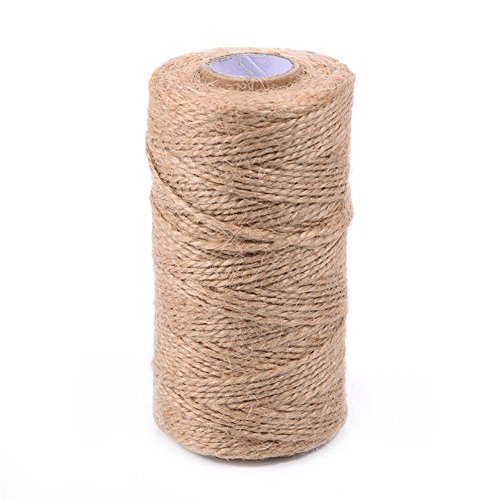 Pettstore Natural Jute Twine String Ropes-300FT 6Ply 3mm Natural Hemp Linen Cord Twisted Burlap Rolls for Artworks and Crafts, Gift Wrapping, Garden Decor Ornament (165ft, 3ply, 2mm) (Burlap Twisted String)