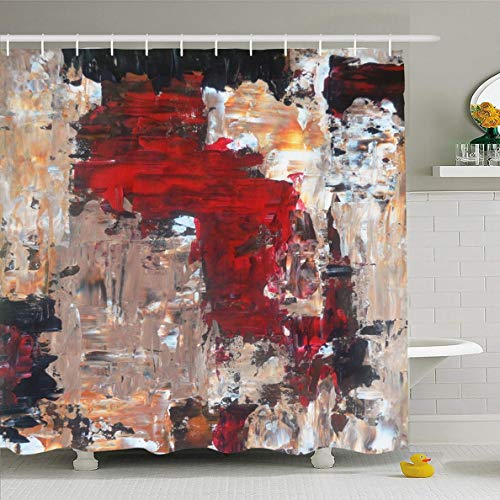 - Ahawoso Shower Curtain 60x72 Inches Office Tan Black Red Beige Abstract Painting White Contemporary Canvas Gallery Design Waterproof Polyester Fabric Set with Hooks