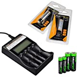 Fenix ARE-C2 four bays Li-ion/ Ni-MH advanced universal smart battery charger, Two Fenix 18650 ARB-L2 2600mAh rechargeable batteries (For PD35 PD32 TK22 TK75 TK11 TK15 TK35 TK51) with EdisonBright Batteries sampler pack
