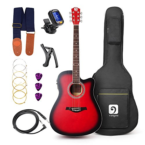 Vangoa – 41 inch Full-Size VG-41ECR Red Acoustic Electric Cutaway Guitar with Guitar Gig Bag, Strap, Tuner, String, Picks, Capo