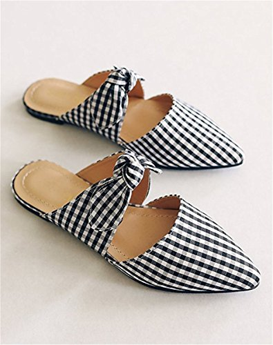 Knot Slides Sandals Flats Mule Bow Grid Shoes Slip On Toe Womens Pointed Huiyuzhi 8wqXt0W