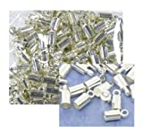 Rockin Beads Brand, Silver Plated Necklace Cord End Tip Beads Caps W/loop 9x4mm(fit 3mm Cord), Sold Per Pack of 200