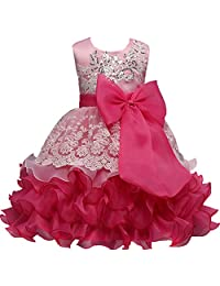 Little Girls Lace Crochet Birthday Party Flower Girl Dress