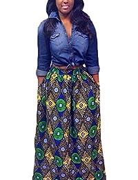 Annflat Women's African Print Casual A-Line Maxi Skirt...