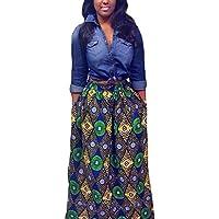 annflat Mujer Africana Floral Print Maxi Faldas una línea largo faldas con Pocket