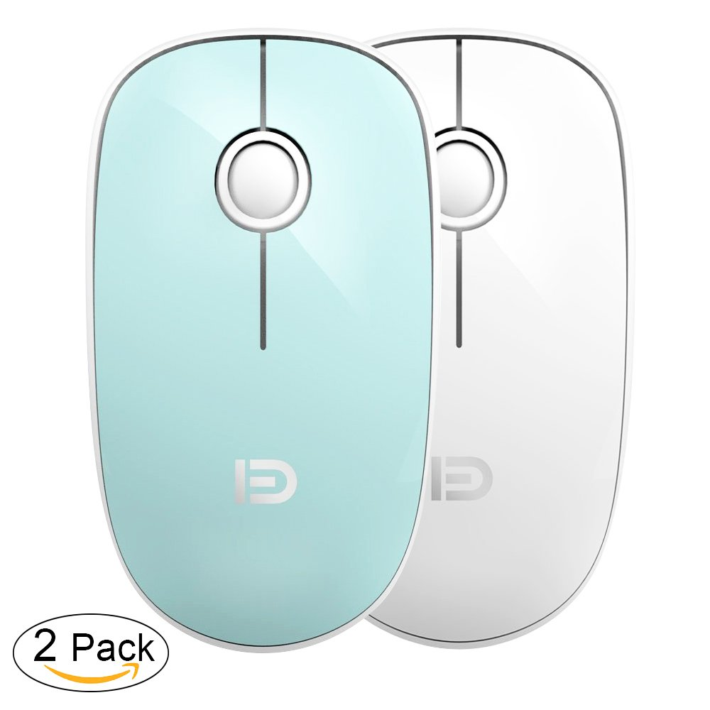 2 Pack Wireless Mouse (Battery included), FD V8 2.4G Slim Silent Travel Cordless Mouses Set Optical Mice Combo with Nano Receiver for Couples, Friends, Colleagues and Parents (Mint Green &White)