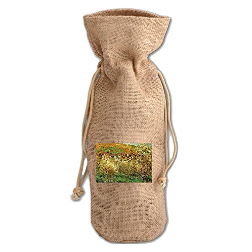 Flowering Apple Trees (Monet) Jute Burlap Burlap Wine Drawstring Bag Flowering Apple