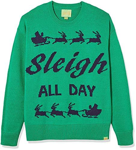 Fair Isle Crewneck Sweater - Ugly Fair Isle Unisex Sleigh All Day Crew Neck Long Sleeve Sweater XS Green/Navy