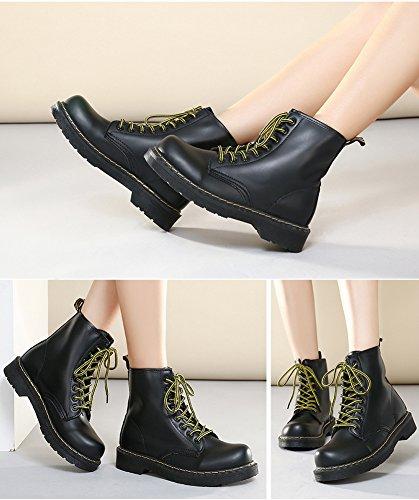 Cystyle Damen Stiefeletten Kunstleder Warm Gefütterte Stiefel Zipper Outdoor Schuhe Camouflage Schwarz
