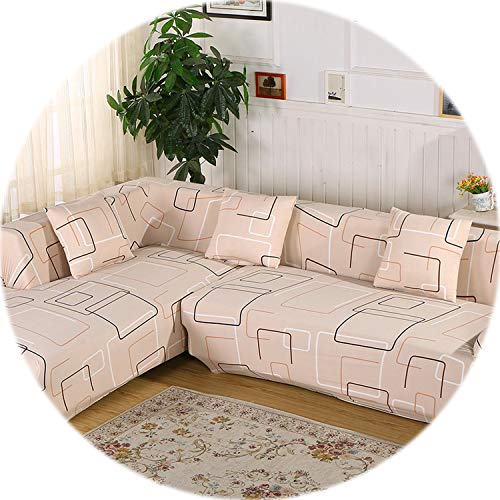2 pcs Covers for Corner Sofa Sectional Couch Slipcovers Universal Elastic Stretch L Shaped Sofa Covers Furniture Protector SC022,12,2Seater and 2Seater ()