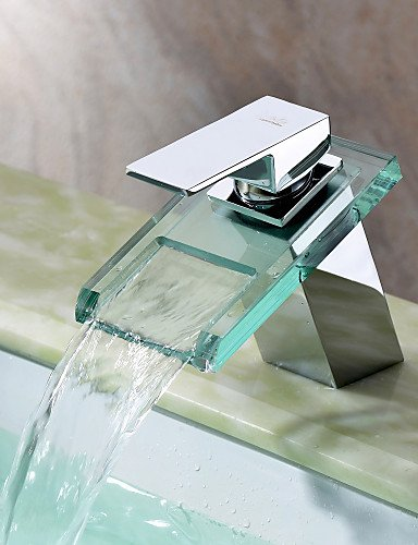 WasserfaÖl Waschbecken Wasserhahn mit Glas Auslauf (verchromt)