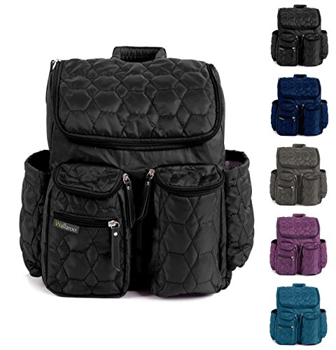 Image of the LARGE Diaper Backpack by Wallaroo - with Stroller Straps, Wet Bag and Diaper Changing Pad – Baby Diaper Bag For Women and Men - 28 Liter Capacity - BLACK