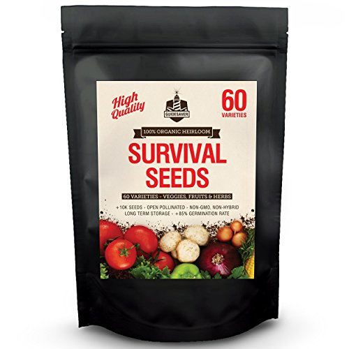 100% Organic Heirloom Seeds, 60 Varieties Non-GMO Vegetable, Fruits & Herbs. Grown in USA for Quality Assurance. This Vegetable Garden Survival Seeds Pack Comes With A 100% Lifetime Guarantee.