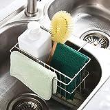 Kitchen Sponge Holder,Dish Brush Holder, Slim Sink Organization/Draining Basket/Liquid Drainer/Water Trough Rack, Kitchen Essential Tools, 304-Stainless Steel