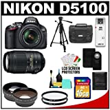 Nikon D5100 Digital SLR Camera and 18-55mm G VR DX AF-S Zoom Lens with 55-300mm VR Lens + 16GB Card + .45x Wide Angle and 2x Telephoto Lenses + Remote + (2) Filters + Tripod + Accessory Kit, Best Gadgets