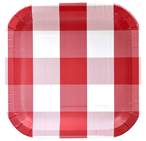 Red and White Plaid Paper Plate (9