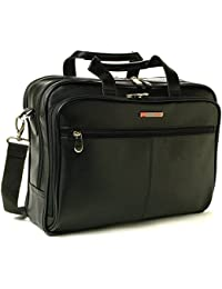 Monroe Leather Briefcase Top-Zip Laptop Messenger Bag Black