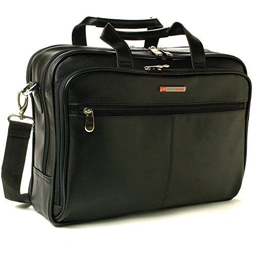Leather Briefcase Top-Zip Laptop Messenger Bag Black (Briefcase Computer Bag)