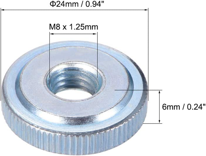 Pack of 5 M8 Female Threaded Thin Type uxcell Knurled Thumb Nuts Nickel Plating