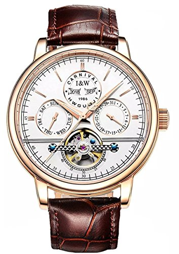 Analog Mechanical Casual Watch - Carnival Iw Series Men's Complications Automatic Mechanical Analog Watch Casual Multifunction Large Dial (Rose Gold White Dial-Leather Band)