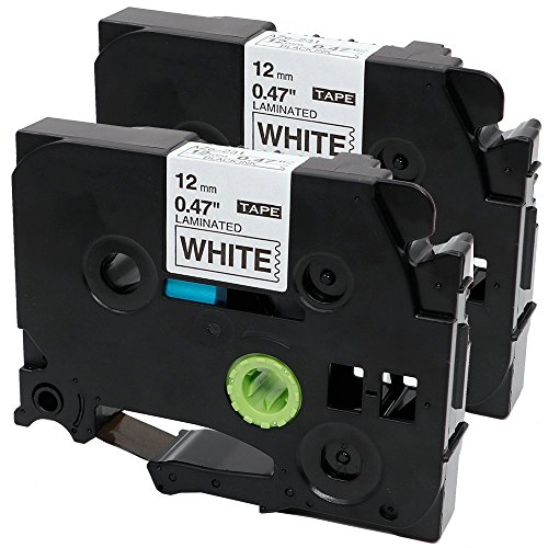 TZe 231 P Touch Label Tape Compatible with Brother Label Maker 12mm 0.47 Inch Laminated Black on White, 2 (P-touch Tape Label Printers)
