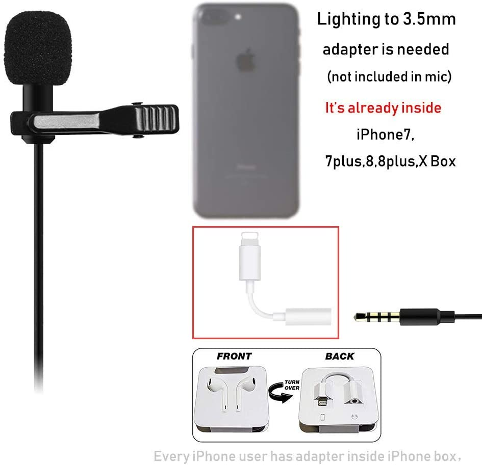 Lavalier Mic Microphone Case For IPhone Smart Phone Recording PC Clip-on Lap`US
