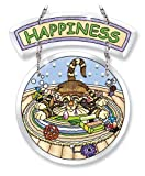 Amia 5768 Happiness Cat Design Hand-Painted Glass Suncatcher, 6-Inch by 5-Inch