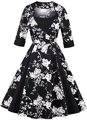 Jiuzhoudeal Women's 1950s Vintage Sleeveless Retro Swing Party Classy Dress (Medium, Black-White Floral)