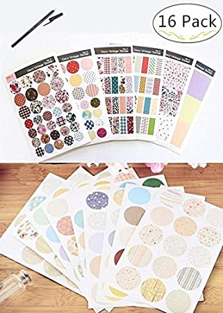 45a5cfbcc1b3 Magnolora 15 Sheets ( 284 pcs) Assorted Style Fancy Shape Bottle Stickers  Labels, Self Adhesive Labels Sticker for Essential Oil Bottles Mason Jars  or ...