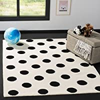 Safavieh Kids Collection SFK904D Handmade Ivory and Black Polka Dot Wool Area Rug (5 x 7)