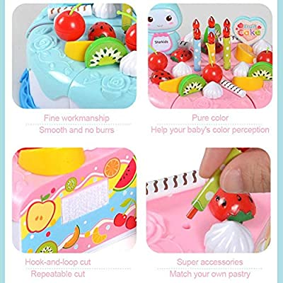 PITCHBLA Pretend Play Food for Kids, DIY 37 PCS Cutting Birthday Party Cake Toys Set, Early Educational Kitchen Toy for Children, Toddlers, Boys & Girls Amazing: Home & Kitchen