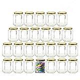 4oz glass jelly jars - 4oz Hexagon Glass Jars 25 pack (25, 4oz)