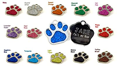 Glitter Paw Print Bling Pet ID Tag, Custom Engraved by IO Tags