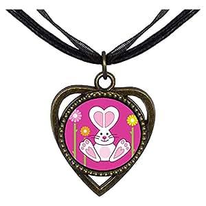 Chicforest Bronze Retro Style Cartoon Theme Heart Shaped Pendant, Bunny Love Easter