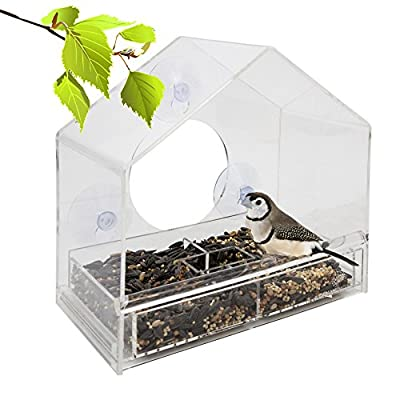 Large Clear Window Bird Feeder - Three Section Removable Multi-Purpose Slide Tray with Breathe Holes. Great Gift for the Whole Family. See Wild Birds Up Close and Personal.