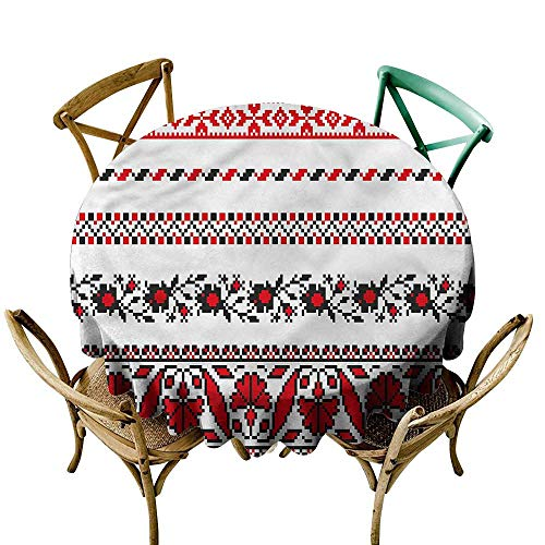 LsWOW 70 Inch Party Round Tablecloth Antique Traditional Ukrainian Motif Suitable for Traveling Outdoors Family Restaurant Coffee Shop -