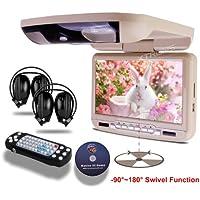 XTRONS® 9-inch Beige Flip Down Monitor and DVD Player with Wireless FM&IR Transmitter IR Headphones