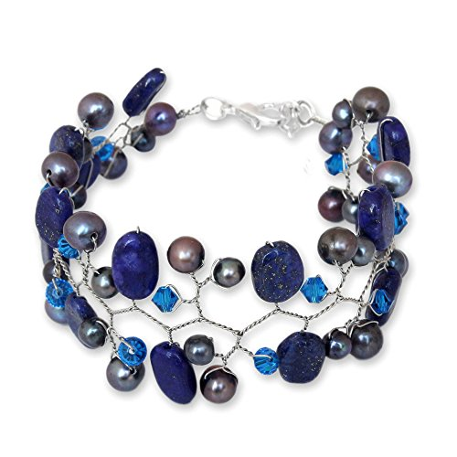 NOVICA Dyed Cultured Freshwater Pearl and Lapis Lazuli Beaded Bracelet, 7.25 , Blue Glam