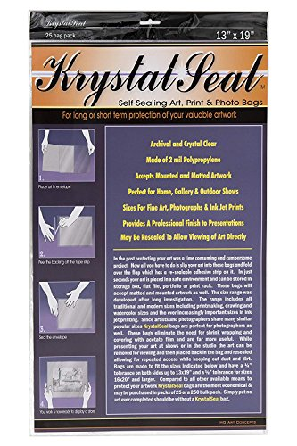 Creative Mark Krystal Seal Art and Photo Bags - Resealable Archival Storage Bags Art Sleeves Plastic Bag Used for Protecting Artwork Resealable with Adhesive Strip - [25 Pack - 13 x 19