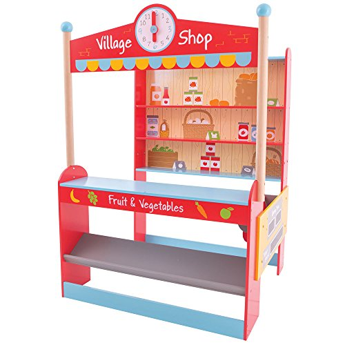 Bigjigs Toys Wooden Grocery Store - Pretend Play and Role Play Toys (Grocery Furniture Store)