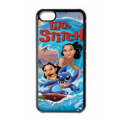 E6R43 Lilo & Stitch Haute Résolution Affiche N7J8MC cas d'coque iPhone de téléphone cellulaire 5c couvercle coque noire KR1XOM7CH