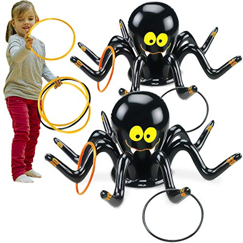 Ring Toss Game Diy (2 Set Hallowee Inflatable Ring Toss Game -Includes 2 Giant Spider Target+ 8 Plastic Rings Improves Hand Eye Coordination for Kids Perfect for Spooky Party Target Game Carnival Back to)