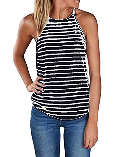 Sherosa Women's Casual Spaghetti Strap Floral Print Tank Tops Camis Shirt (S, Striped) (Best Tank Top Designs)