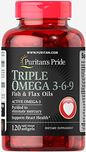 Puritan's Pride Triple Omega 3-6-9 Fish & Flax Oils-120 Soft