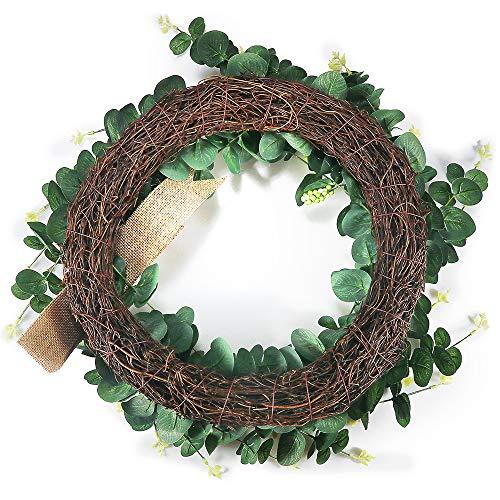 Suliper Eucalyptus Leaf Wreath 24inch Handmade Green Wreath With