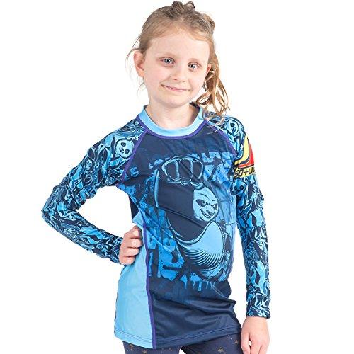 (Fusion Fight Gear Kung Fu Panda Dragon Warrior Kids Rash Guard Compression Shirt - Blue Long Sleeve (XL))