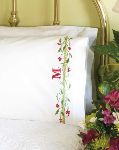 Dimensions Crafts Stamped Cross Stitch Pillow Cases, Holly Border